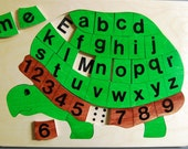 Wooden Alphabet Turtle puzzle will equip your Preschooler to learn the Upper and Lower case letters before Kindergarten. An educational toy!