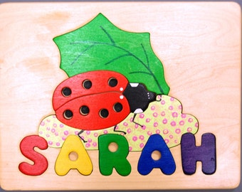 Ladybug and Name Personalized puzzle. May be hung for Nursery decor. A cute birth gift, first birthday gift, Christmas gift for girl or boy.