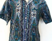 Tropicana Honolulu Cotton Sateen Polynesian Print Shirt Size M