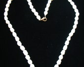 """Freshwater White 6mm Rice Pearl Goldtone Clasp Neckace 18"""""""