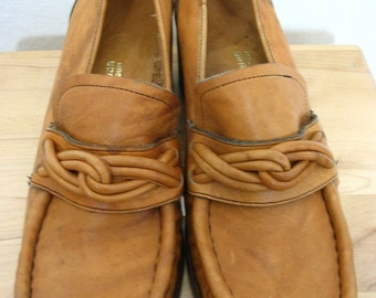 Groovy Made in Brazil Tan Leather Braided Knot Tie Front Loafers 70s Vibe Size 8