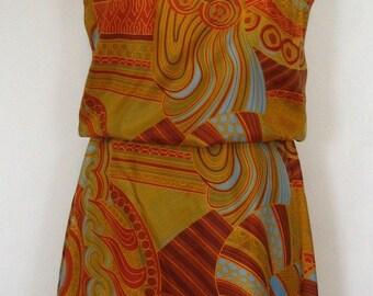 Fabulous Berkertex Mayfair Multicolor Swirl Blouson Dress Size M-L