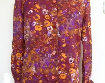 Lawrence Maid Fashions Honolulu Purple Brown Paint Dab Print Shirt Size M