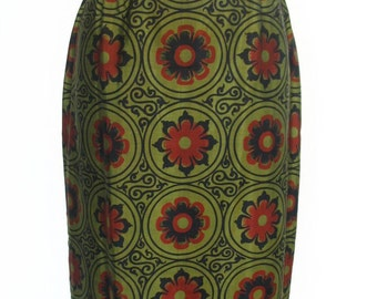Thai Silk Chartreuse Black Red Abstract Floral Skirt Size S