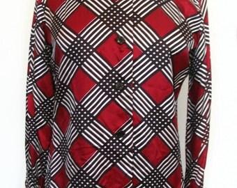 Diagonal Striped Polyester Mandarin Collar Long Sleeve Blouse Size M