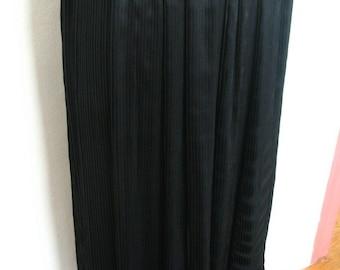 Valentino Boutique Micro Pleat Black Silk Skirt Size 4