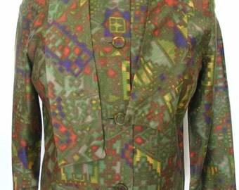 Cotton Sateen Self Tie Scarf  Blouse Multicolor Geometric Print Size S