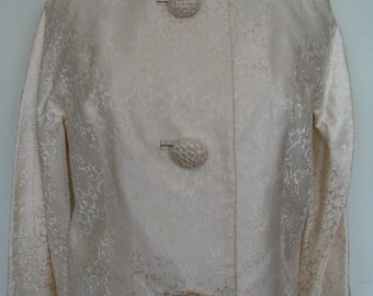 Beautiful Ivory Damask Floral Raglan Sleeve Cropped Jacket Size L