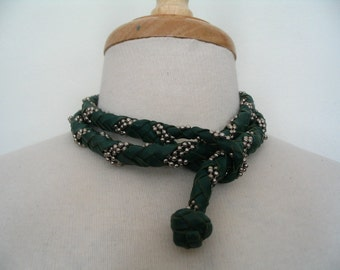 Green Braided Leather Rope Silver Ball Chain Lariat Belt