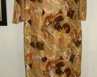 Tan Multicolor Floral Bell Sleeve Silk Cheongsam Maxi Dress Size S