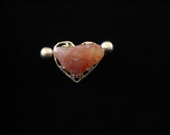 Intriguing Silvertone Heart with Stone Nugget Brooch