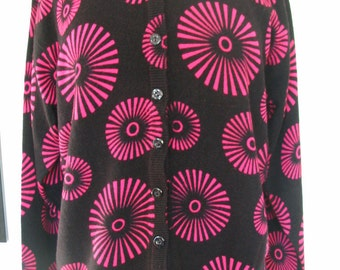 Michelle Black and Hot Pink Fireworks Cardigan Sweater Size L