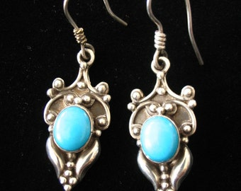 Sterling Silver with Turquoise Cabochon Pierced Earrings