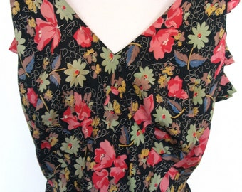 Black Floral Garden Party Ruffled Back Maxi Dress Size 6