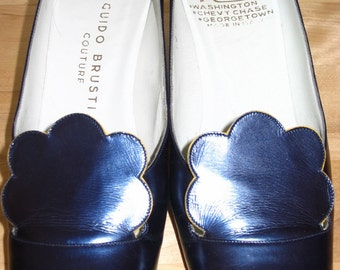 Spectacular Rare Guido Brustia Metallic Blue and Yellow Pumps Size 7 N