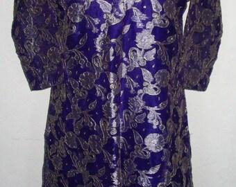 Beautiful Royal Purple Gold Silver Salwaar Kameez Tunic Slip and Scarf Set Size M