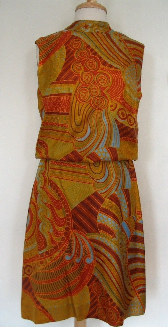 Fabulous Berkertex Mayfair Multicolor Swirl Blouson Dress Size M-L