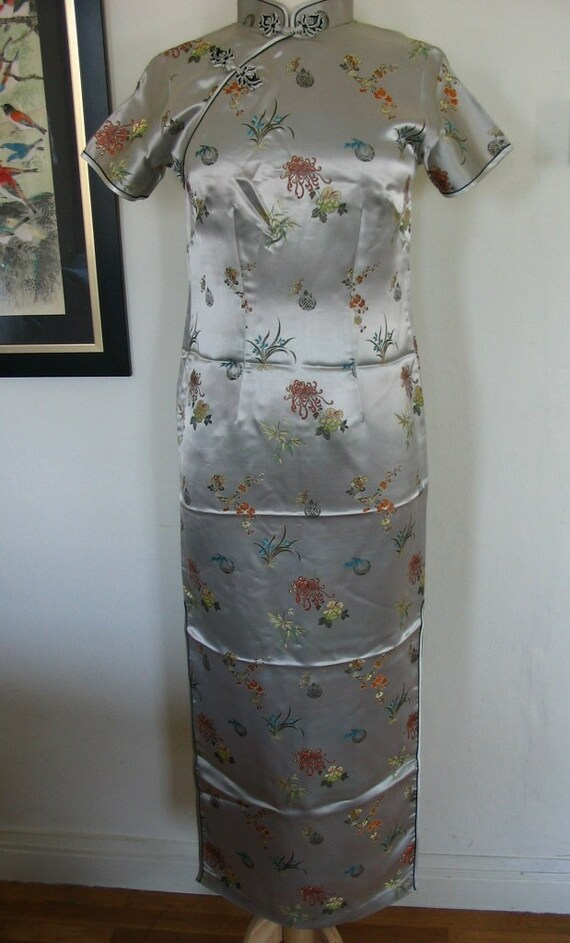 RESERVED Silver Satin Brocade Multicolor Floral Maxi Dress Cheongsam Size S