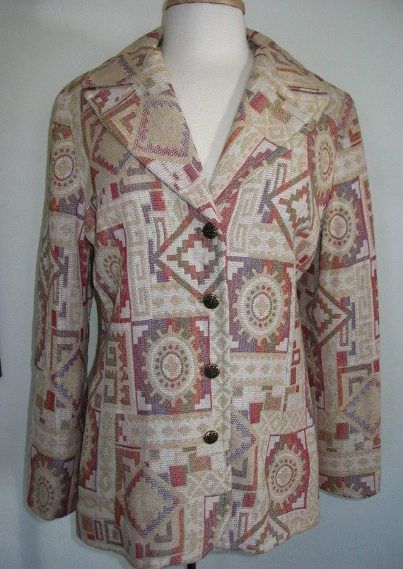 Vintage Collegian of CA Cream Tapestry Jacket Size L