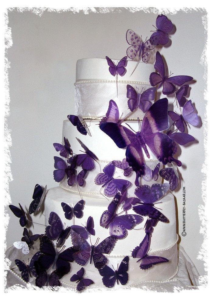 Items similar to PURPLE BUTTERFLIES 46 Multi Sized 3D Wedding