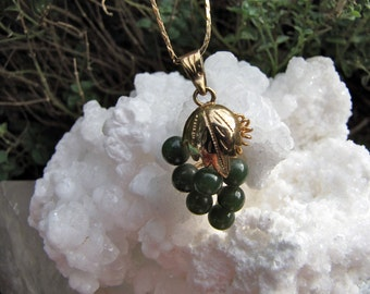 Vintage Chinese Jade Gold Vermeil Grape Pendant / Ethnic  Green Jade Pendant