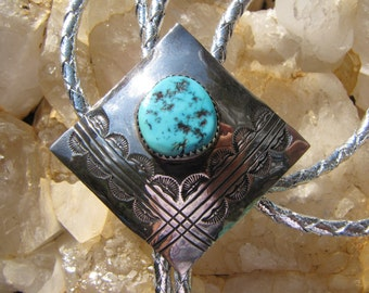 Native American Kingman Turquoise Sterling Silver Signed Bolo Tie - Native Turquoise Bolo Tie