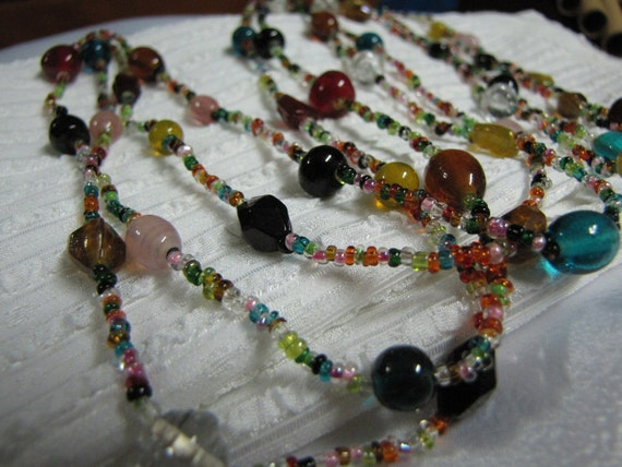 Vintage ex-long Multi-Colored Glass Bead  Necklace