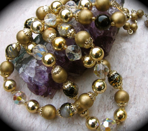 Reserved for Jerry Vintage Double Strand Aurora Borealis Crystal  and Gold Beaded Necklace / Mid Century Beaded Necklace