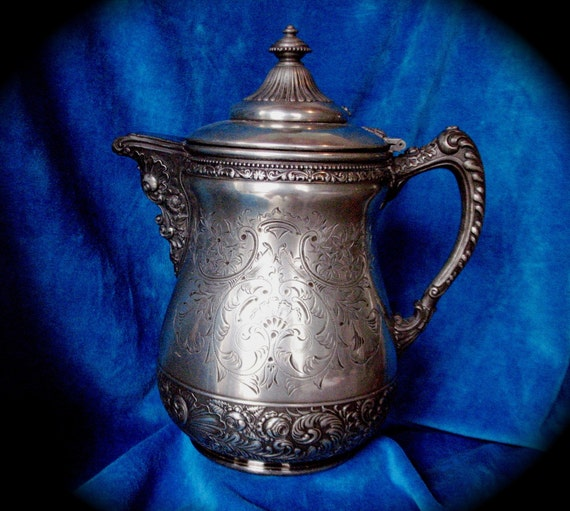Reserved for  Michele- Vintage Victorian Floral Repousse 1800's SilverPlate Tea/ Coffee Pitcher Middletown Silverplate Coffee Server
