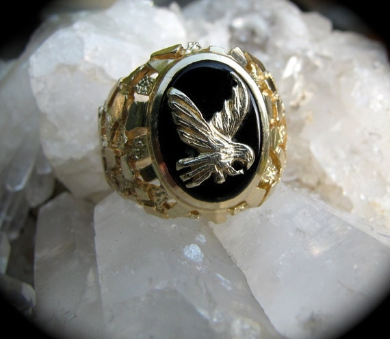 Cyber Sale Vintage 14K Gold Eagle Ring /  Black Onyx  Gold Nugget  Man's  Ring/Special HolidaySale