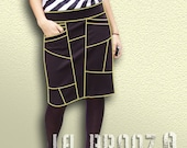 Bottoms Skirts Skirt Long Asymmetrical Black Skirt with Diagonal Pockets in the Front