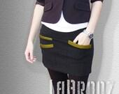 Skirt Bottoms Skirts Skirt Short Asymmetrical Skirt Back color with Bronze pocket pipings