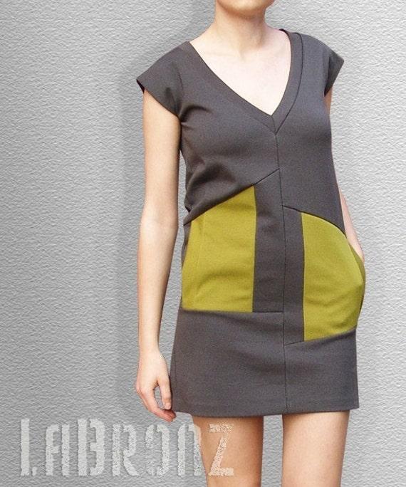 Olive Grey Asymmetrical Dress