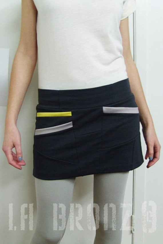 Bottoms Skirts Short Asymmetrical Charcoal Color Skirt with Diagonal Pockets in the Front