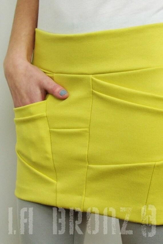 Bottoms Skirts Skirt SALE - Short Asymmetrical Maize Color Skirt