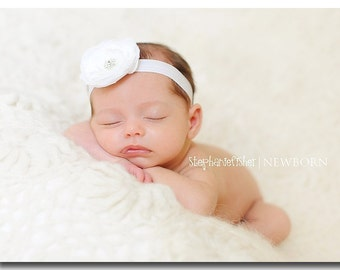 White Baby Headband Infant Headband Baby Girl Headband Baptism Headband Girls Headband Baptism Christening Stretch Elastic Flower Headband