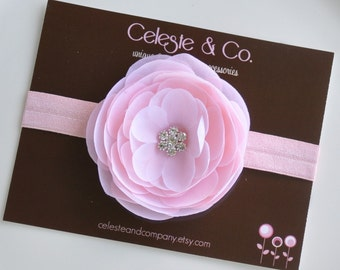 Baby Headband - Newborn Headband - Pink Flower Hair Clip on Matching Headband Headband - Photography Prop