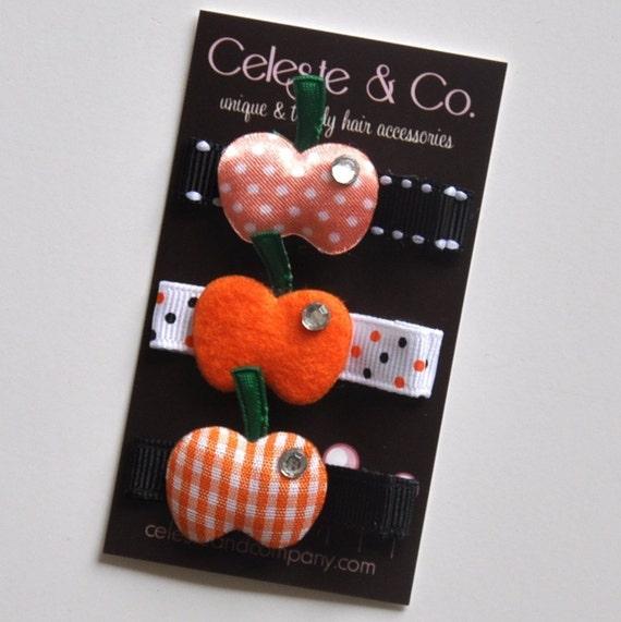 3-Pack Precious Pumpkins - Alligator Clips - Halloween