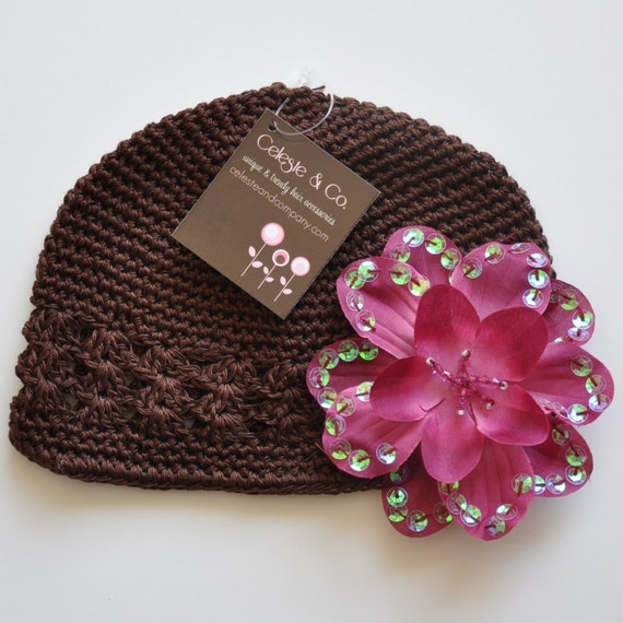 JUST A FEW LEFT - Brown Crochet Beanie with Wine Sequin Flower - TODDLER/GIRL