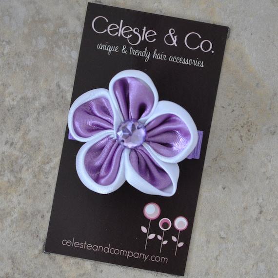 Toddler/Baby Hair Clip - Purple Satin Flower Clip with Rhinestone Center - Alligator Clip