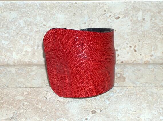 """2.75"""" WIDE Leather Cuff - Genuine Ostrich Hide - Red"""