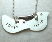 Twins, Mothers Day Jewelry, Personalized Bird Pendant