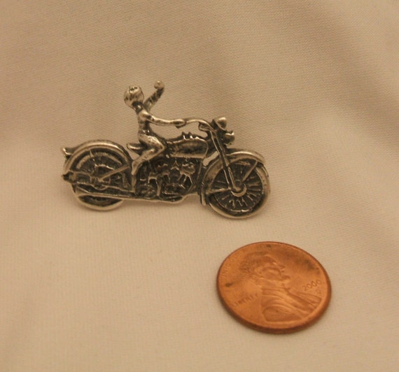 Sterling Silver Vintage Motorcycle w/ Rider Pin