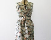 Vintage 1960's Marbled Silk Feather Dress