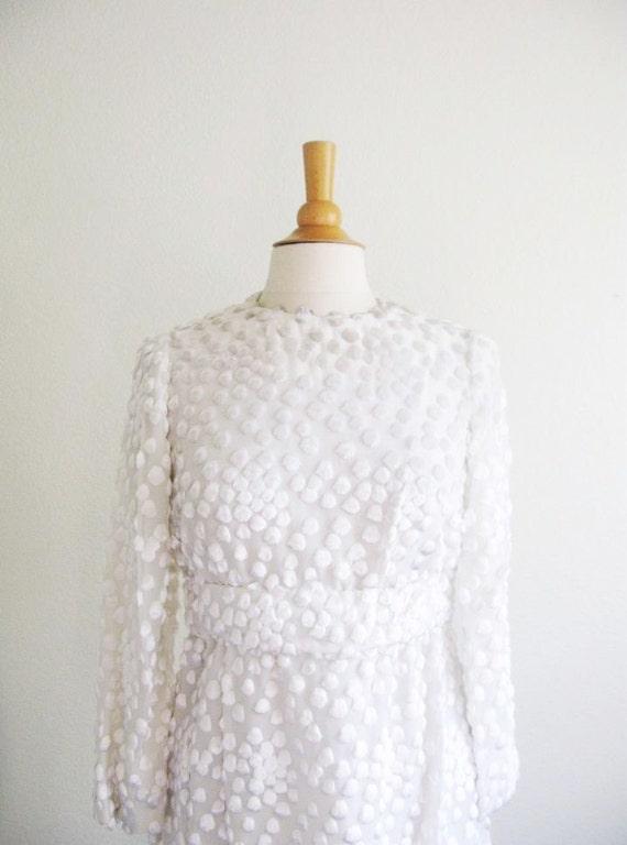 Vintage 1960's Fluffy White Polka Dot Dress