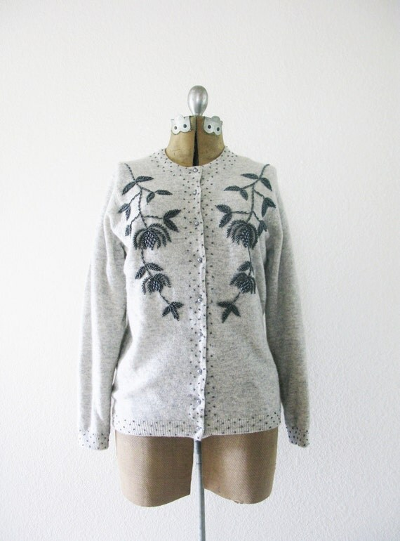 Vintage 1950's Wool and Cashmere Beaded Cardigan