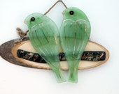 fused glass hanging wall art - love green birds on a branch.
