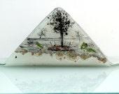 Fused Glass painted  napkin holder- landscape series