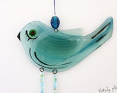 fused glass  Windchime / Suncatcher bird in Blue green