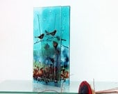 blue Fused glass  vase, bird  landscape